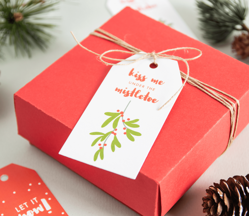 Christmas Gift Boxes With Lids.Set Of Christmas Gift Tags