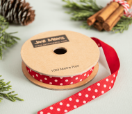 Red and White spotty Grosgrain ribbon