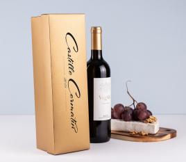 Individual laminated cardboard wine box with lid.