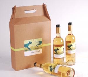 Decoración caja pack de 3 vinos