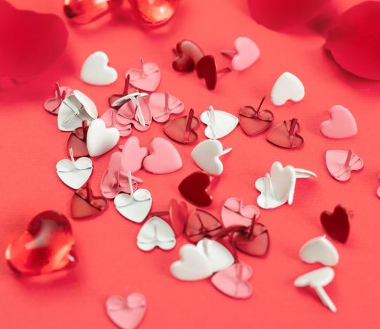 Heart-shaped brads