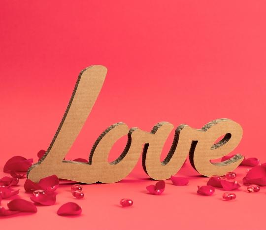 LOVE cardboard letters