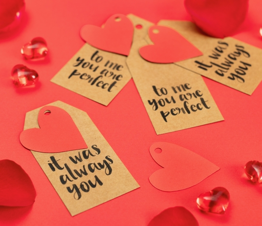 Set of 8 gift labels and heart-shaped labels