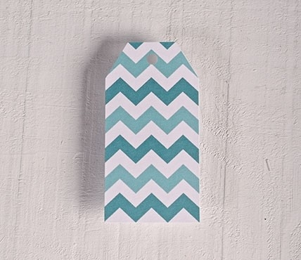 Printed labels Turquoise zigzag pattern