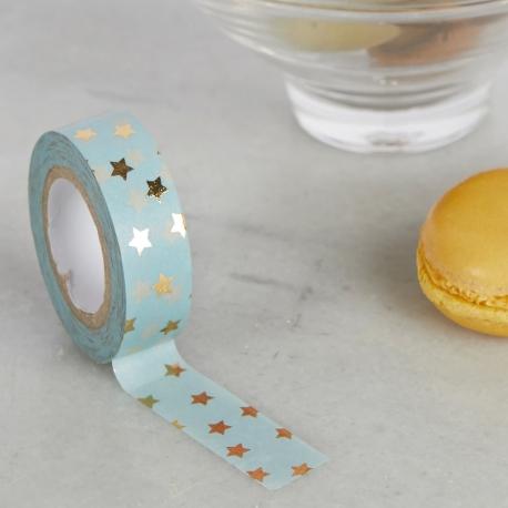 Washi tape celeste con estrellas doradas