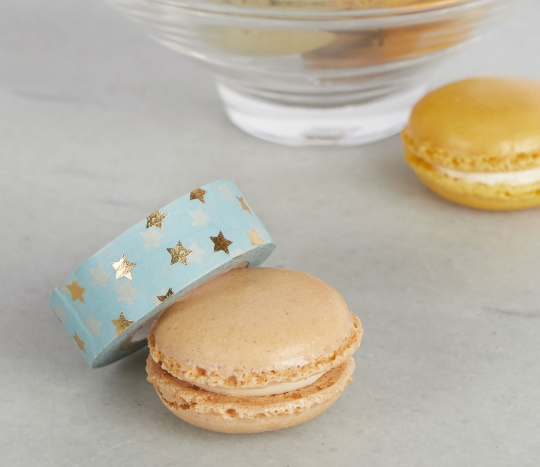 Pale blue washi tape with gold stars