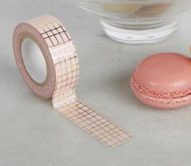 Rosa Washi-Tape mit goldener Karierung