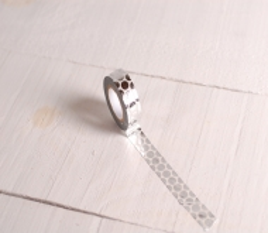 Washi tape with silver polka dots